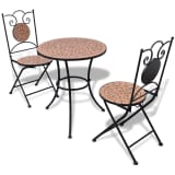 vidaXL Bistro Table 60 cm Mosaic with 2 Chairs Terracotta