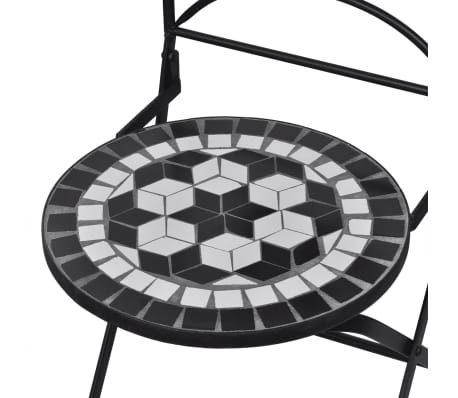 vidaxl garten bistro set mosaik st hle tisch 60 cm schwarz wei g nstig kaufen. Black Bedroom Furniture Sets. Home Design Ideas