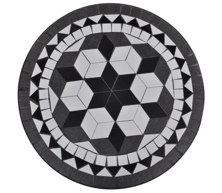 vidaXL 3-cz. zestaw mebli bistro z mozaiką czarno-białą[8/12]
