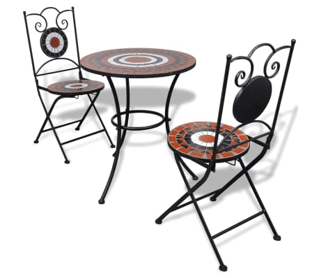 Add a romantic touch to your garden, patio, or balcony with this mosaic bistro set. It will be a great pleasure to chat with your friends or have a cuppa while relaxing on this decorative yet functional garden furniture set.