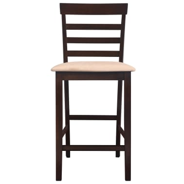 vidaXL bāra krēsli, 2 gab., koks, brūni ar bēšu [3/8]