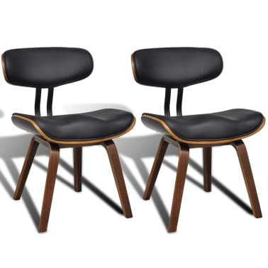 vidaXL Dining Chairs 2 pcs with Bentwood Frame Artificial Leather[2/6]
