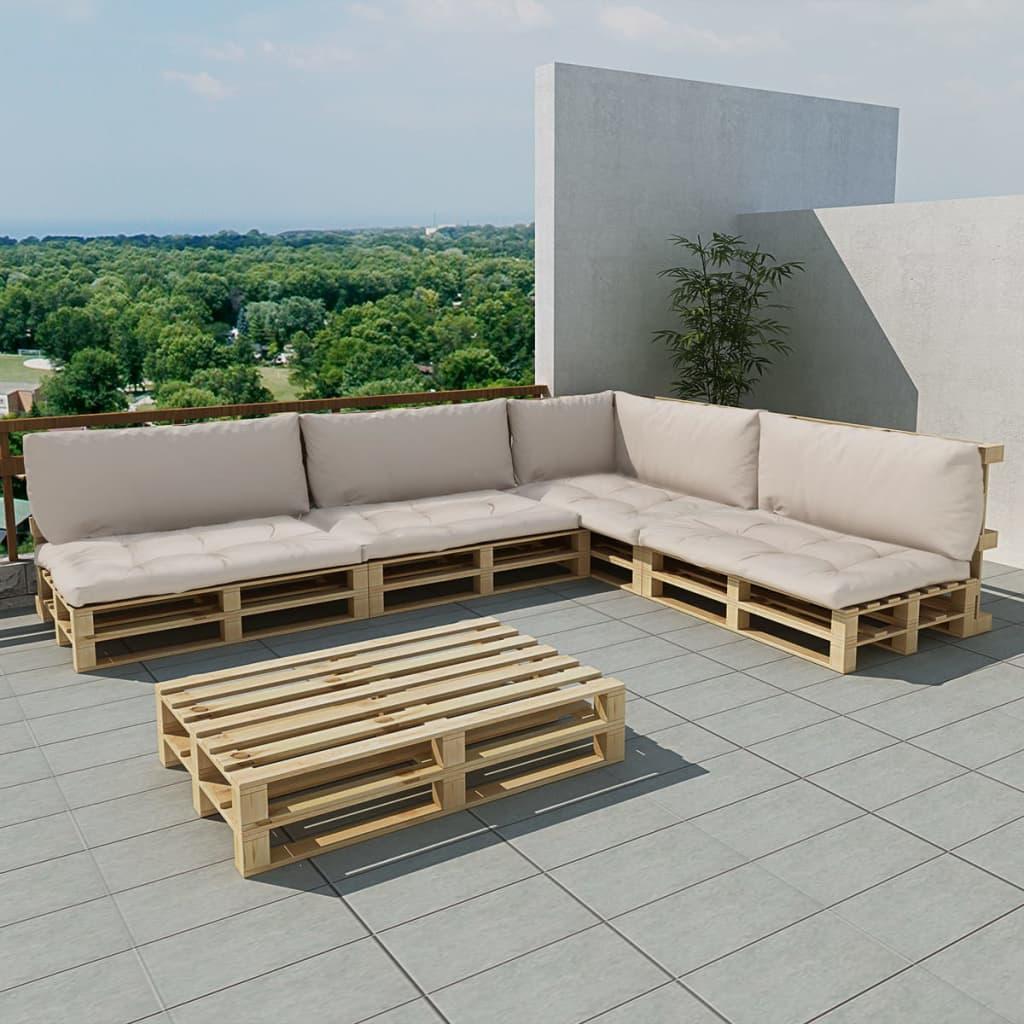 vidaXL 15dílná zahradní sedací souprava z palet písková bílá