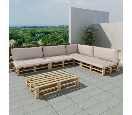 Shop vidaXL udendørs loungesæt træpaller 15 dele med 9 hynder ...