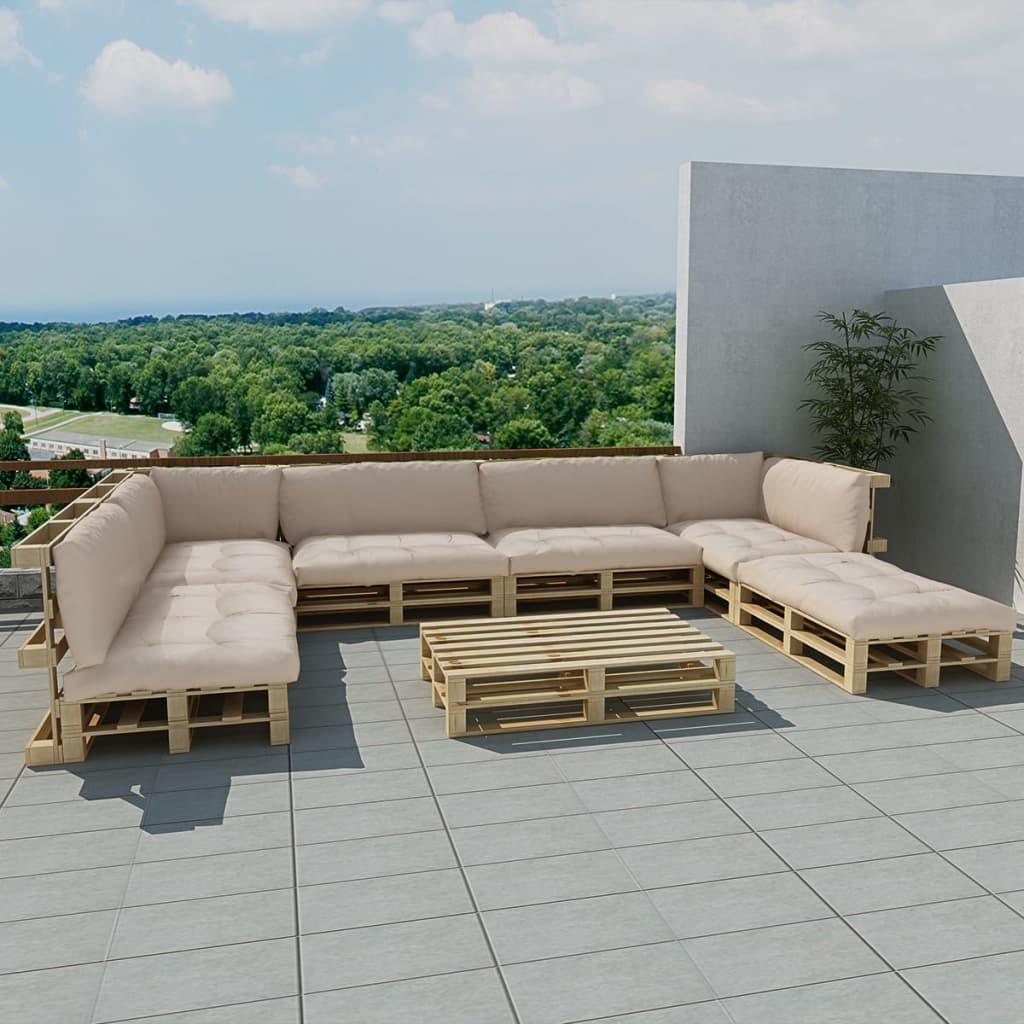 vidaXL Zahradní sedačka z palet 21 ks, dřevo, 13 polstrů, pískově bílá