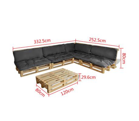 vidaXL Garten-Palettensofa 15-tlg. Holz mit 9 Auflagen Grau günstig ...