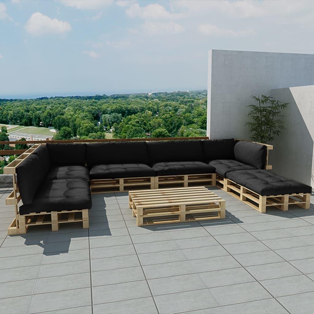 vidaXL Zahradní sedací souprava z palet 21 ks, dřevo, 13 polstrů, šedá