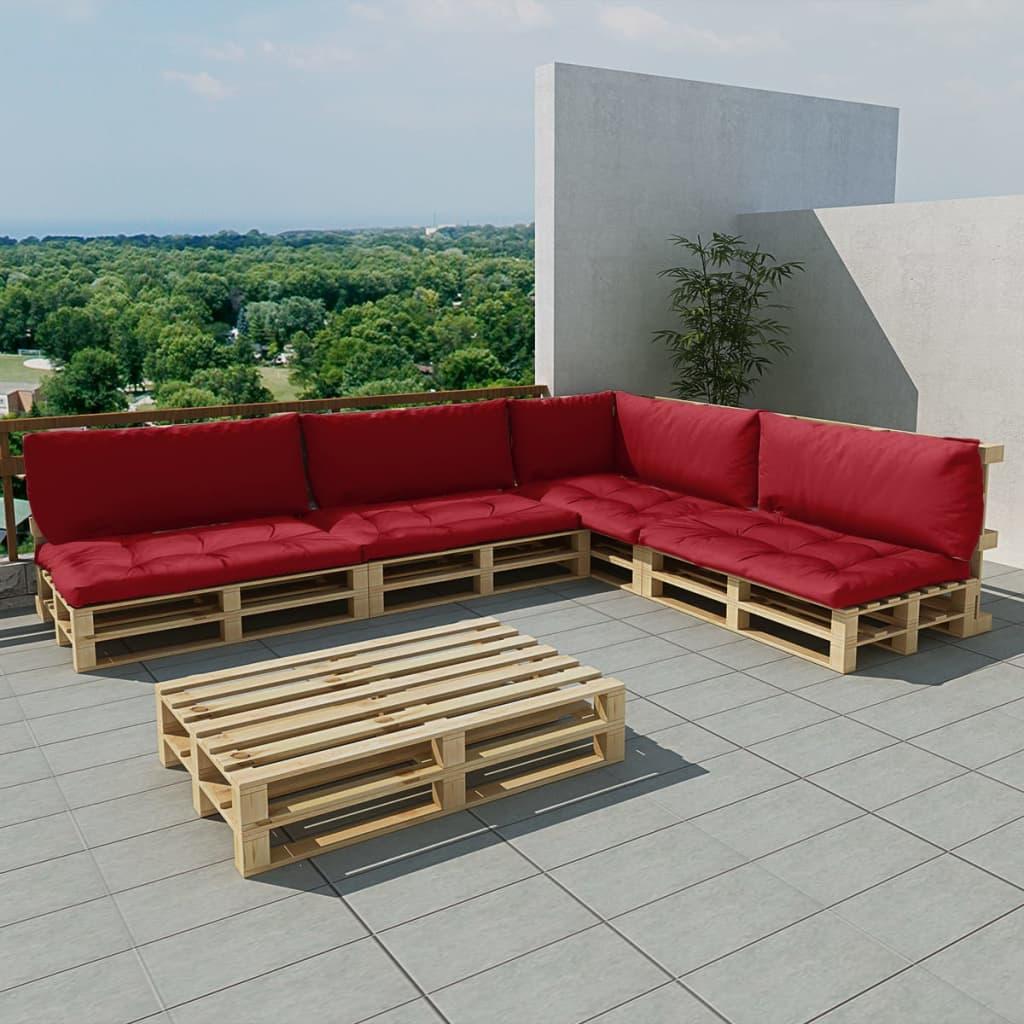 vidaXL Zahradní sedačka z palet 15 ks, dřevo, 9 polstrů, vínová