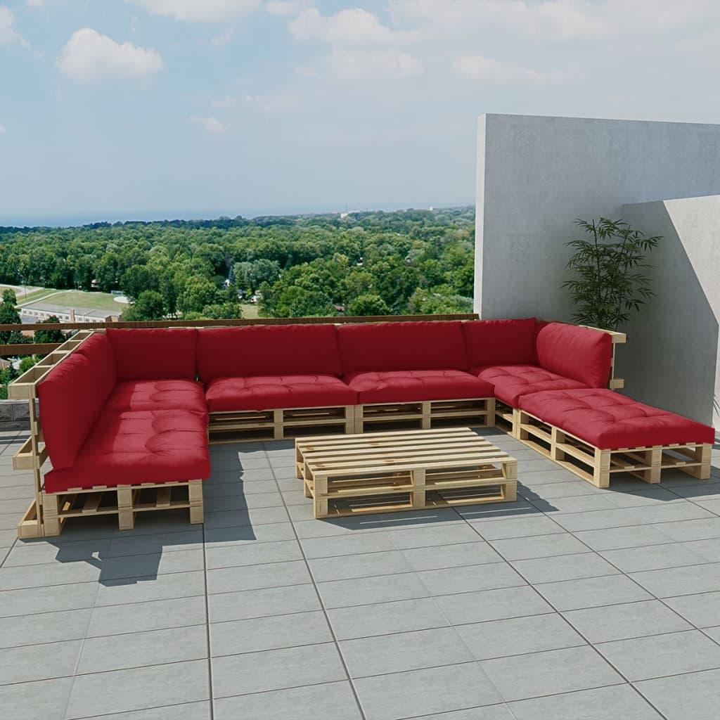 vidaXL Zahradní sedačka z palet 21 ks, dřevo, 13 polstrů, vínová