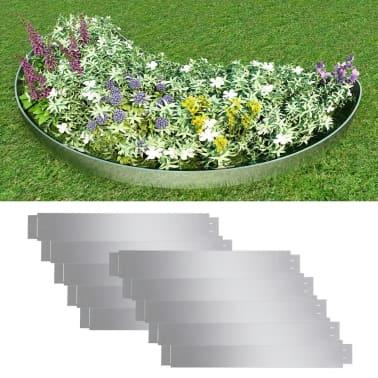 "vidaXL Set of 10 Flexible Lawn Fence Galvanized Steel 39.4"" x 5.9""[1/8]"