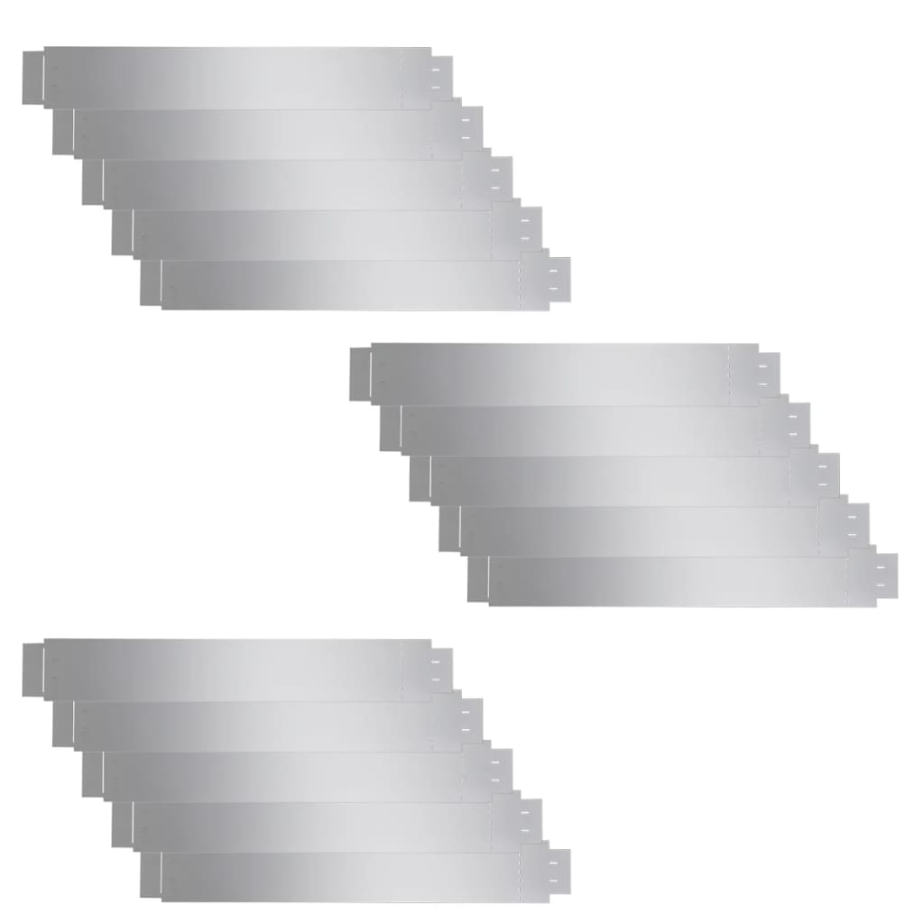 Afbeelding van vidaXL Grasboord flexibel 100x15 cm 15 stuks gegalvaniseerd staal