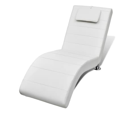 New White Artificial Leather Chaise Longue with Pillow 150 x 60 x ...
