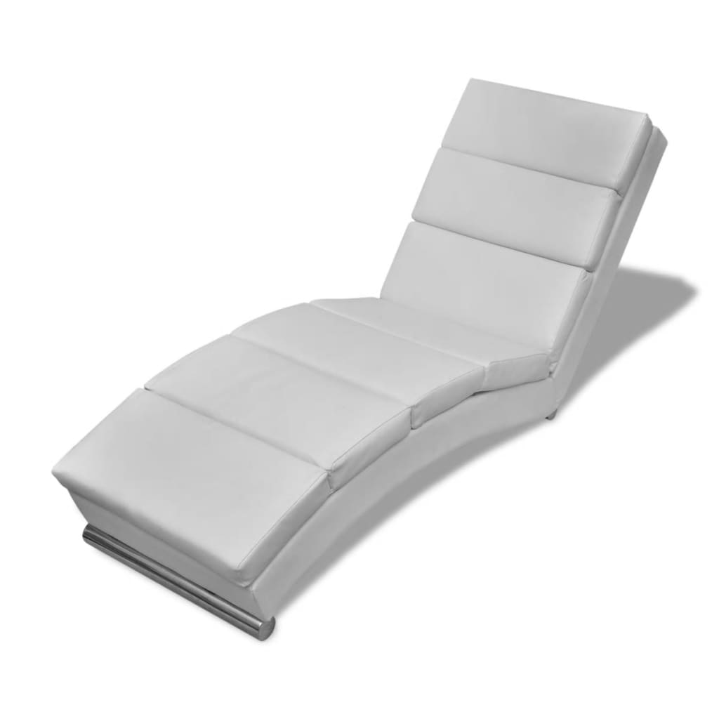 Vidaxl White Artificial Leather Chaise Longue For Sale In Uk Preloved