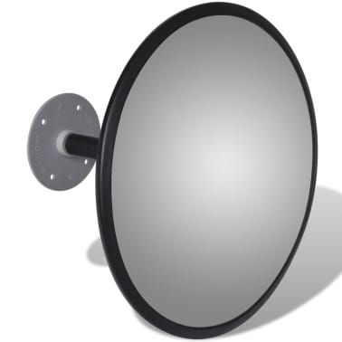 "Convex Traffic Mirror Acrylic Black 12"" Indoor[3/4]"