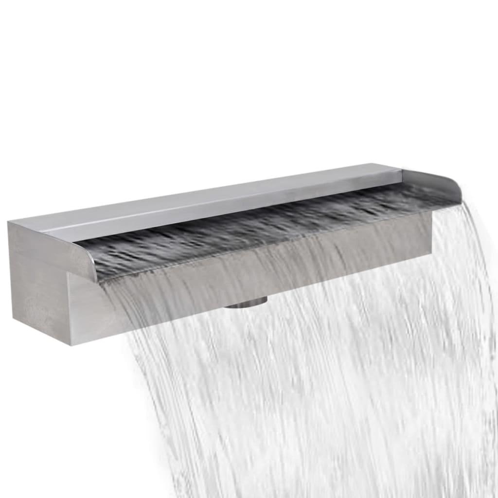 Fântână de piscină dreptunghiulară cu cascadă 45 cm oțel inoxidabil poza vidaxl.ro