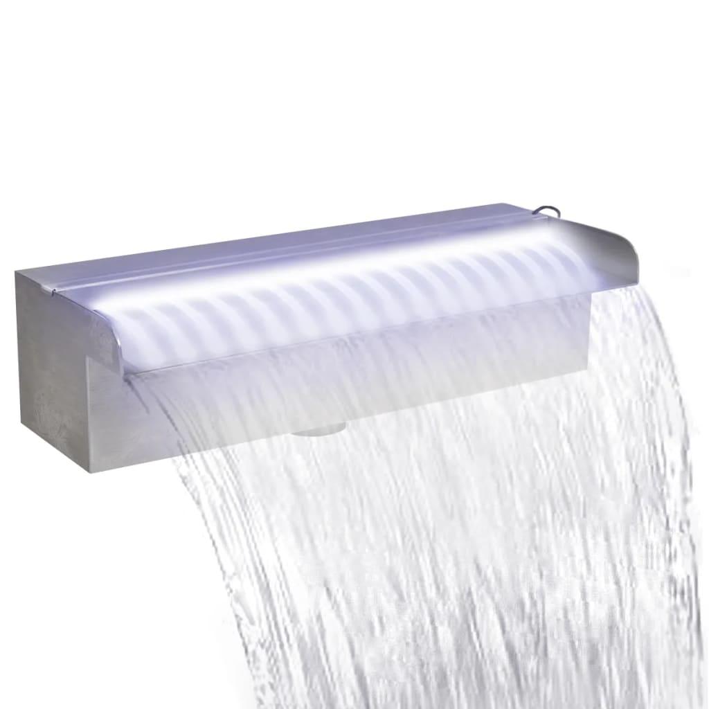 Obdélníková bazénová fontána s LED nerezová ocel 30 cm