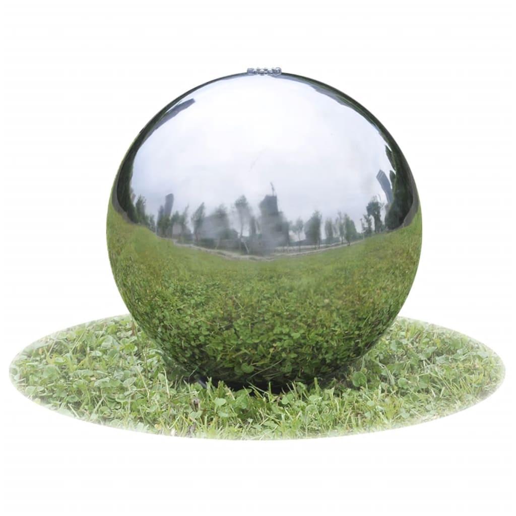 vidaXL Fântână sferică de grădină cu LED-uri, 20 cm, oțel inoxidabil poza vidaxl.ro