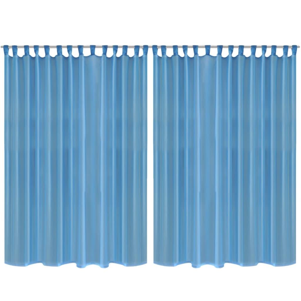Draperie transparentă, 290 x 245 cm, turcoaz, 2 buc. imagine vidaxl.ro