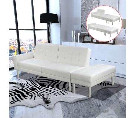 Vidaxl divano letto in pelle artificiale bianco regolabile - Letto in pelle bianco ...