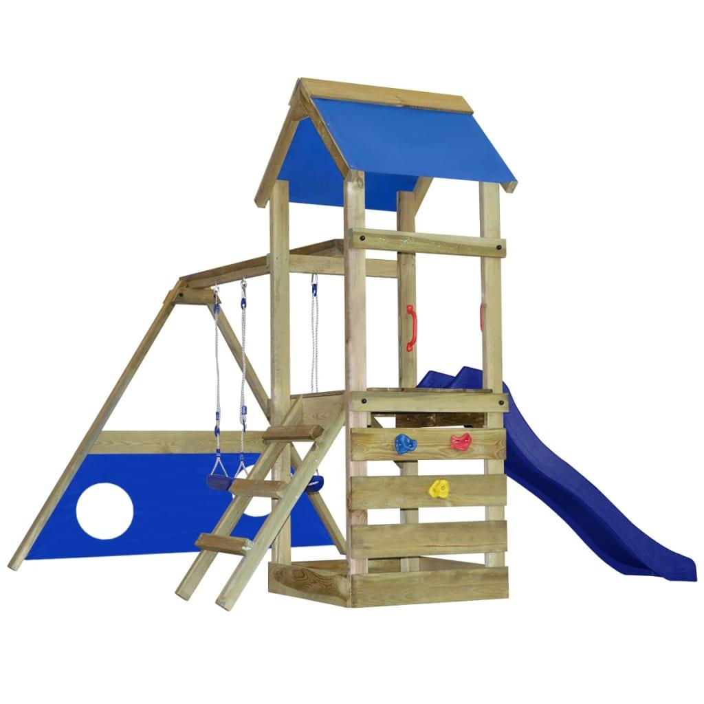 Dřevěná hrací věž se skluzavkou, žebříkem, brankou a houpačkami S