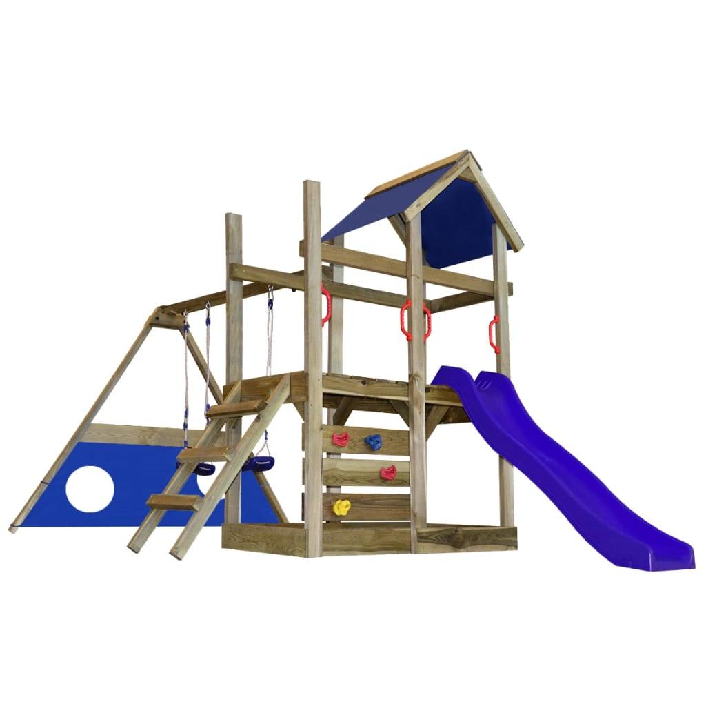 Dřevěná hrací věž se skluzavkou, žebříkem, brankou a houpačkami M