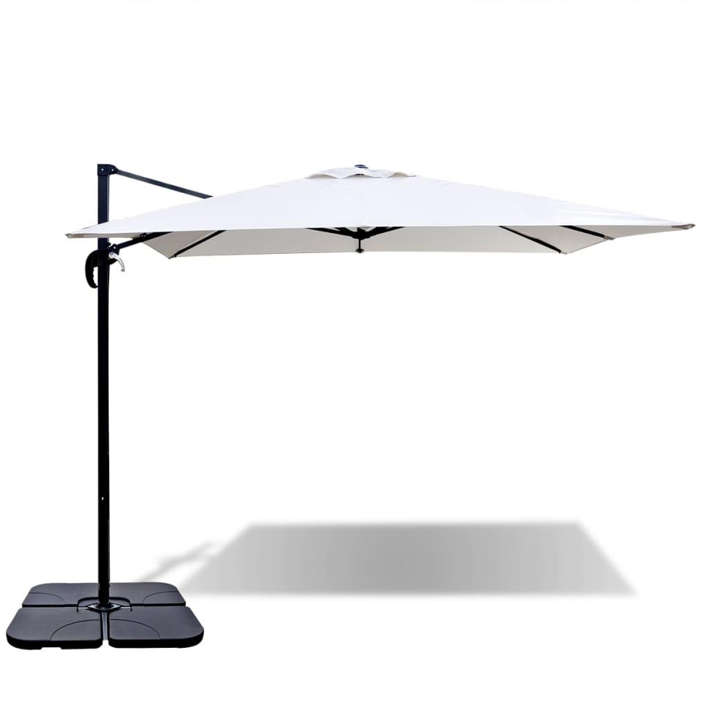 vidaXL Umbrelă Roma, bază portabilă, 2,5x2,5 m, aluminiu, alb nisipiu imagine vidaxl.ro