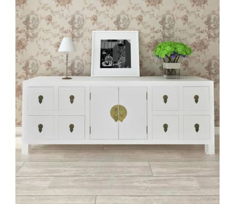 vidaXL Wooden Sideboard Asian Style with 8 Drawers and 2 Doors[2/9]