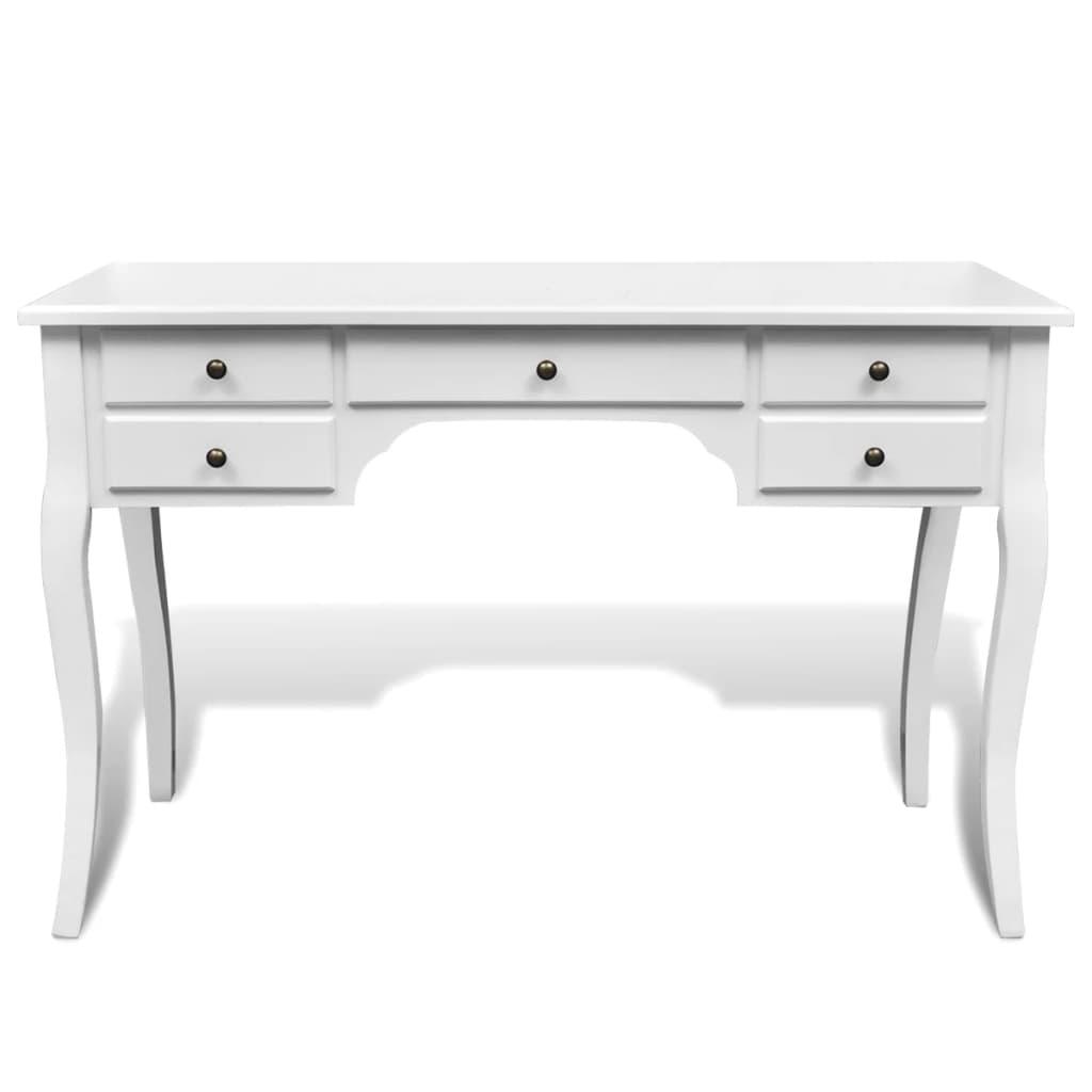 999241734 Französischer Holz-Schreibtisch mit geschwungenen Beinen 5 Schubladen