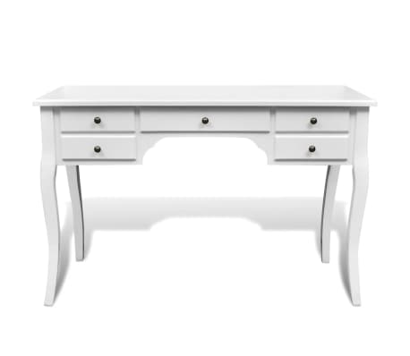 Wooden French Desk with Curved Legs and 5 Drawers[2/4]