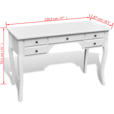 Wooden French Desk with Curved Legs and 5 Drawers[4/4]