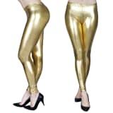 2 Stück Goldene Wet Look-Leggings L/XL