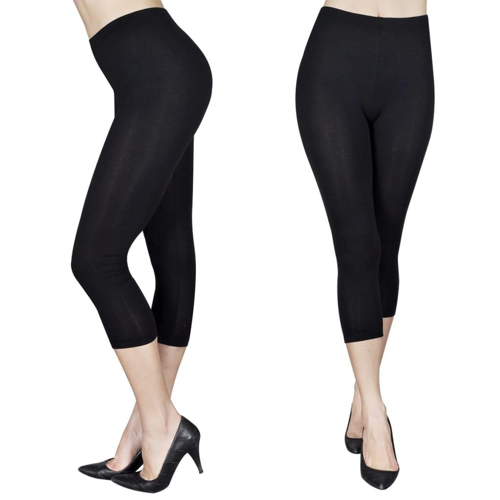 Afbeelding van vidaXL Legging 3/4 maat XL/XXL (zwart) set van 2