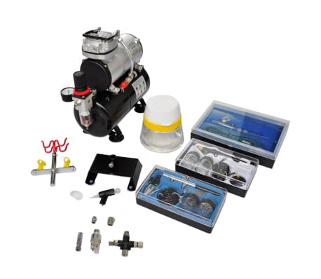 "Airbrush Compressor Set with 3 Pistols 1' x 5.9"" x 1'[1/7]"