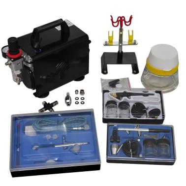 "Airbrush Compressor Set with 3 Pistols 10"" x 5.3"" x 8.7""[1/6]"