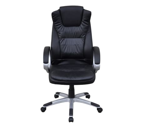 Black Artificial Leather Office Chair[2/5]