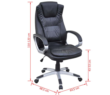Black Artificial Leather Office Chair[5/5]
