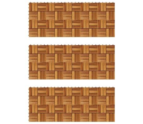vidaXL Tuile de plancher en acacia 30 pcs Ensemble de plaques de toiture toit