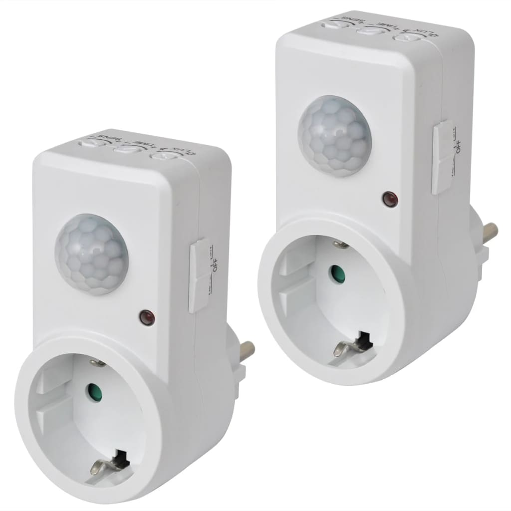 Set 2 detectoare de mișcare cu alimentare de la priză imagine vidaxl.ro