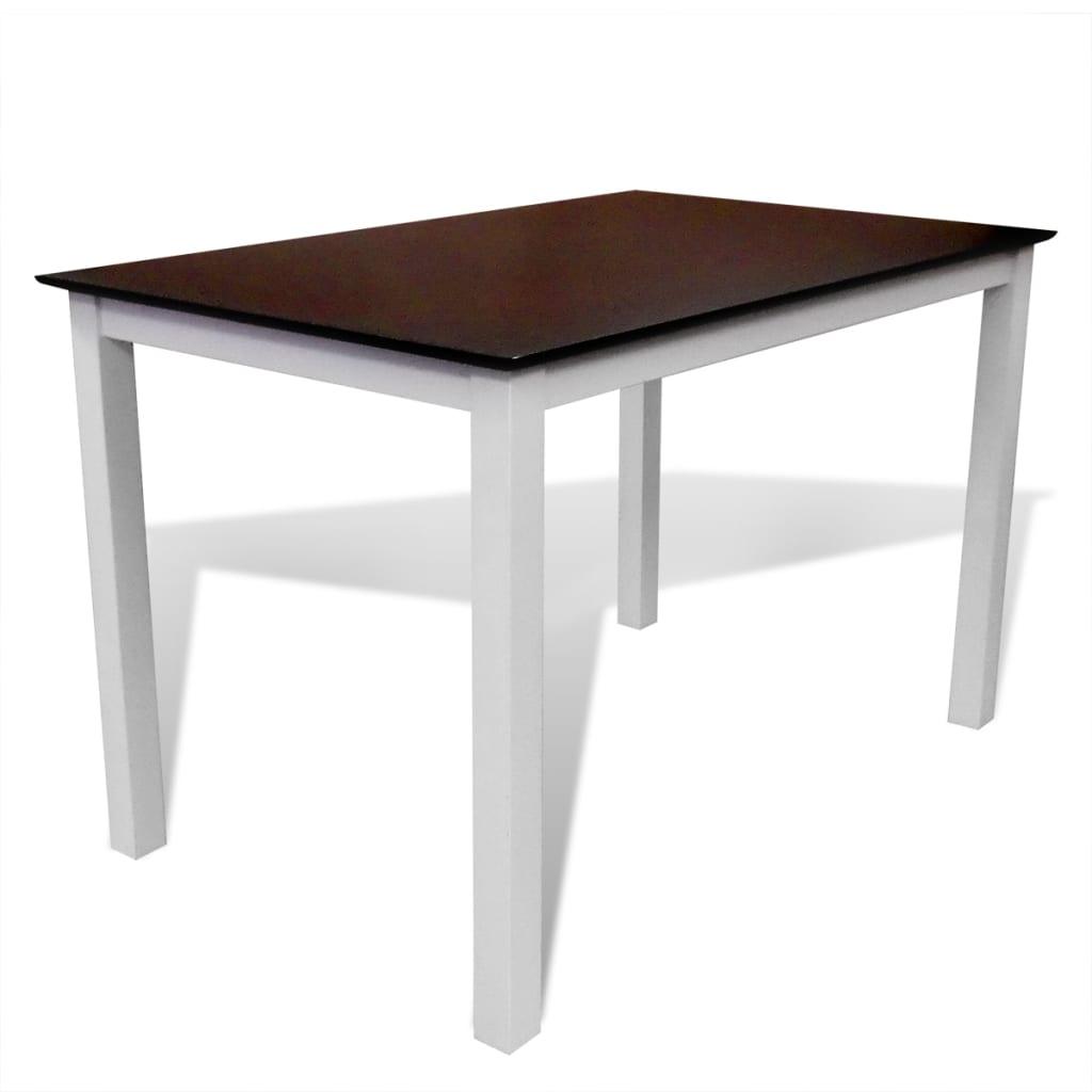 Hnědo-bílý jídelní stůl z masivního dřeva 110 cm