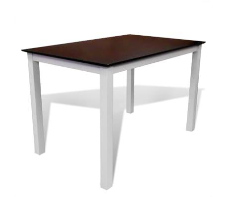 vidaXL Eettafel 110 cm massief hout bruin en wit