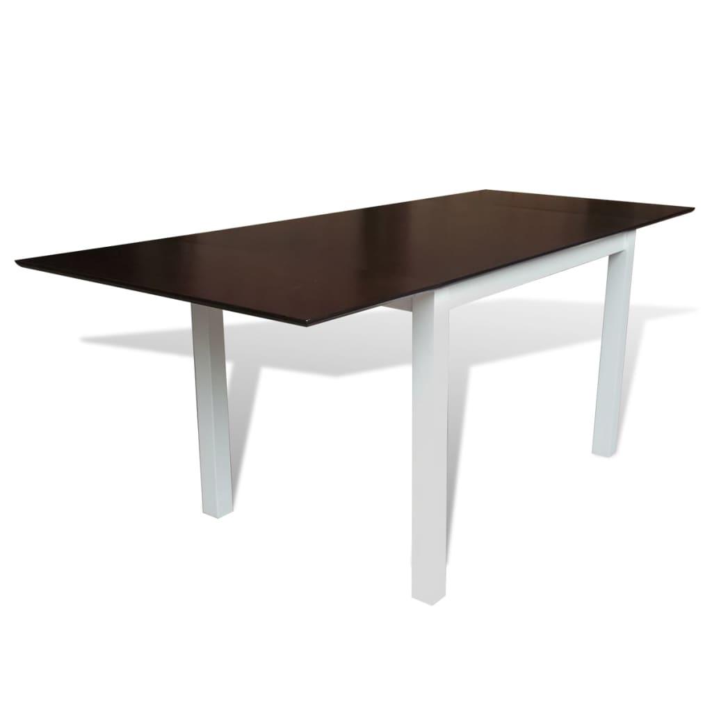 Hnědo-bílý rozkládací jídelní stůl z masivního dřeva 195 cm