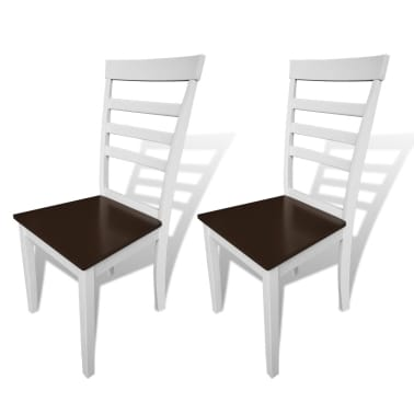 vidaXL Dining Chairs 2 pcs Solid Wood Brown and White[1/4]