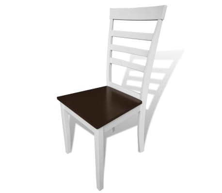 vidaXL Dining Chairs 2 pcs Solid Wood Brown and White[2/4]