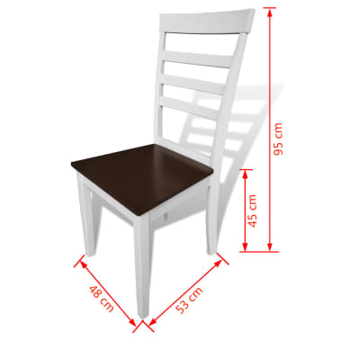 vidaXL Dining Chairs 2 pcs Solid Wood Brown and White[4/4]