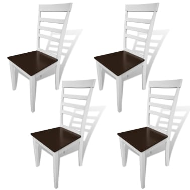 vidaXL Dining Chairs 4 pcs Solid Wood Brown and White[1/4]