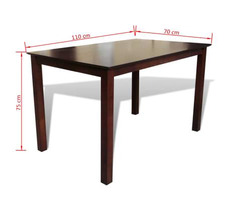 vidaXL Jedálenský stôl, 110 cm, masív, hnedý[3/3]