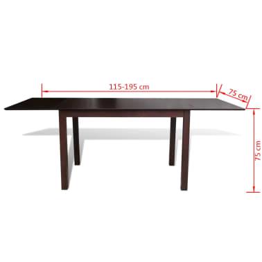 """vidaXL Extending Dining Table 76.8"""" Solid Wood Brown[4/4]"""