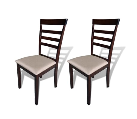 vidaXL Dining Chairs 2 pcs Solid Wood Brown and Cream[1/4]