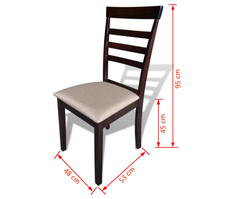 vidaXL Dining Chairs 2 pcs Solid Wood Brown and Cream[4/4]