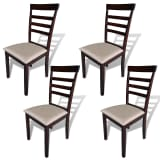 vidaXL Dining Chairs 4 pcs Solid Wood Brown and Cream